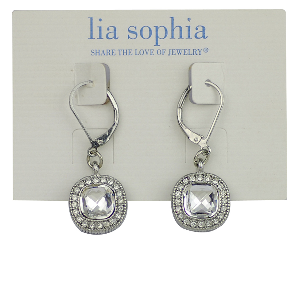 Lia Sophia Jewelry Bella Donna Silver Rhodium With Faceted Cut Crystals Earrings For Woman