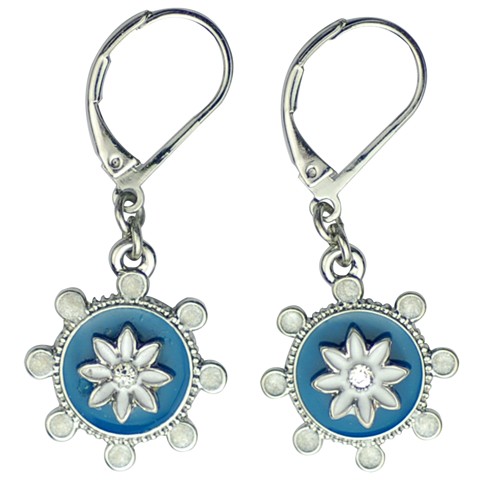 Lia Sophia Jewelry Lola Drop Hoop Silver Tone With Blue White Enamel Cut Crystals Earrings
